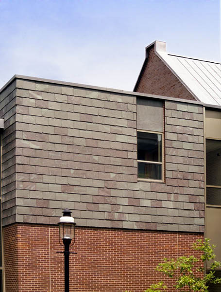 Full picture of slate siding and customized support wall at Princeton University Press